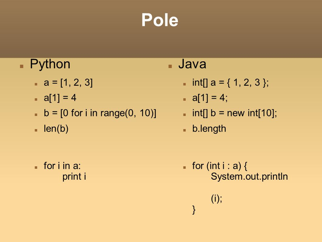 Pole Python Java a = [1, 2, 3] a[1] = 4 b = [0 for i in range(0, 10)]